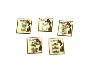 Set Of Five Crystal Button Cards