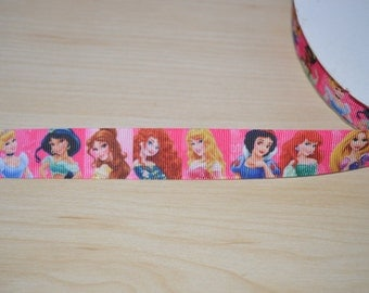 Disney Princess Grosgrain Ribbon, Ribbon by Yard 7/8 wide, Belle, Merida, Ariel, Rapuzel, Jasmine, Cinderella, Snow White, Aurora