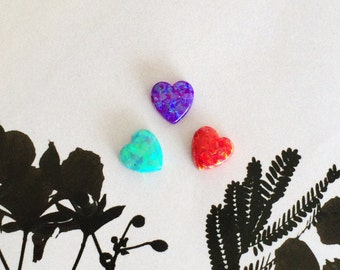 White Opal Heart, Red Opal Heart, Pink Opal Heart, Blue Opal Heart, Purple Opal Heart, Green Opal Heart, 8x8mm, 11x13mm, 1mm Drilled Hole
