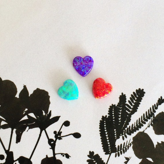 opal, purple opal heart, red opal heart, green opal heart, purple heart opal, red heart opal, green heart opal, 8X8mm, drilled hole