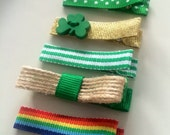 St. Paddy's Day Hair Clips - Luck of the Irish - Green Shamrock and Rainbow hair clips