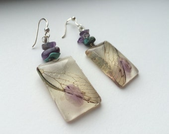 Cicada wing sterling silver earrings with amethyst and turquoise