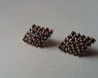 Vintage 80s goldtone sapphire earrings