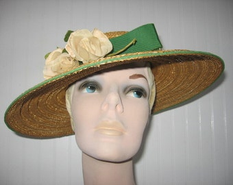 1930's Cellophane Straw Wide Brim Hat by Knox / Geraldine