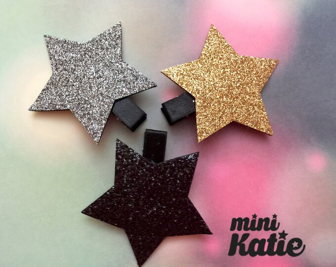 mini Katie Gentle Glitter Star Hair Barrette, Hair Clip for girls baby Toddlers Infants clips