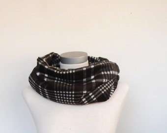 infinityscarf men,wool scarf,brown checkered scarf,circle scarf,winter scarf,gift men