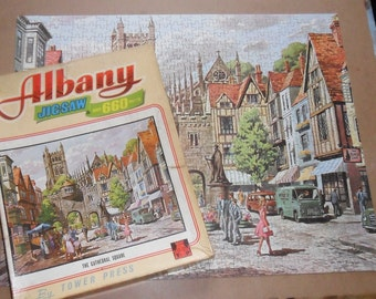 Vintage Jigsaw Puzzle Tower Press Albany British The Cathedral Square Retro 1960s 1950s Town Street Scene