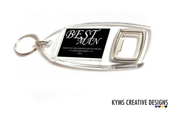 items similar to personalised bottle opener keyring acrylic wedding favours for best man. Black Bedroom Furniture Sets. Home Design Ideas