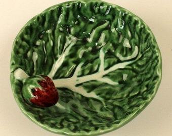 Strawberry Leaf Majolica Dish