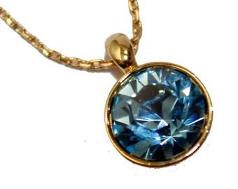 Swarovski Elements Blue Bella Pendant Necklace 18k Gold Plated Adjustable Blue Necklace