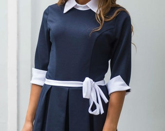 Dark blue and white party dress Peter Pan collar Contrast Jersey Everyday Spring dress Women's dress with belt
