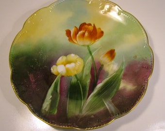 Antique Hand-Painted A K & D plate - Limoge - France