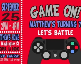 Video Game Invitation Print at Home Digital File