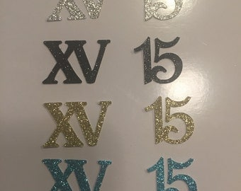 Glittered Cardstock # 15 die cuts, or crowns quinceañera