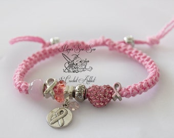 Breast Cancer Awareness Crochet Beaded Bracelet