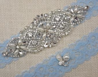 Bridal Garter, Wedding Garter Set, Blue Garter, Garter Set, Pearl Garter, Rhinestone Garter, Something Blue Garter, Best Friend Bridal