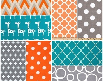 Custom Crib Bedding Set, Made to Order, Orange, turquoise, gray, giraffe, crib skirt, sheet, baby blanket