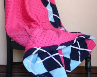 Pink and Navy Fleece Blanket, Children's Fleece Blanket, Argyle Fleece Blanket,  Large Toddler Minky Blanket