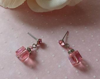 Petite Pink Lucite Earrings Vintage Rhinestone Earrings Pierced Earrings 1970s