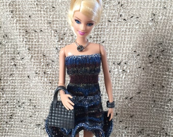 Petite, Classic, & Tall Barbie Clothes, Knitted Boho Sundress, Comes with ALL Accessories shown, Co-worker Gift, Stocking Stuffer