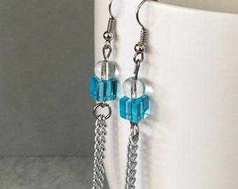 Blue dangle earrings, blue chain earrings, blue earrings, aqua dangle earrings, blue bead earrings, beaded earrings