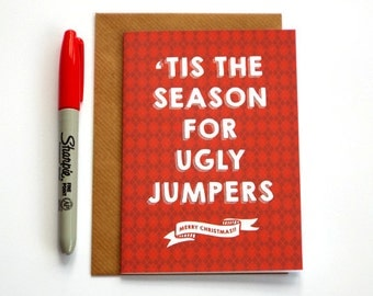 Funny Christmas Card, Christmas Card, Ugly Jumper Card, Funny Xmas Card, Christmas Jumper Card, Christmas Sweater, Funny Xmas Jumper Card