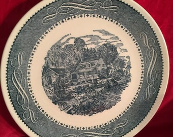 Currier and Ives Anchor Hocking Plates; Stamped USA on the bottom; Vintage Anchor Hocking; Vintage Currier and Ives