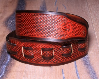 Handmade Leather Guitar Belt - Leather Guitar Strap - Brown and Saddle tan - Hand tooled Basket weave pattern