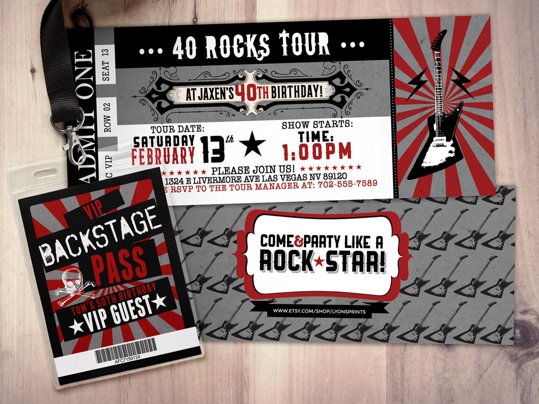 ROCK STAR concert ticket birthday party invitation Music – Rock Star Party Invitations