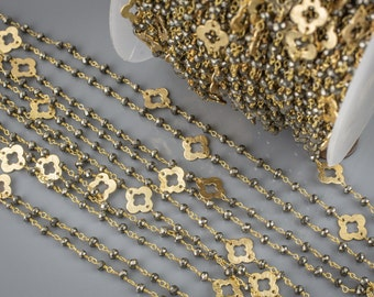 Natural Pyrite Chain. Sharp-cut high quality with Gold Quatrefoil Clover Flower by the Foot. 3-4mm Gold Plated Wire.