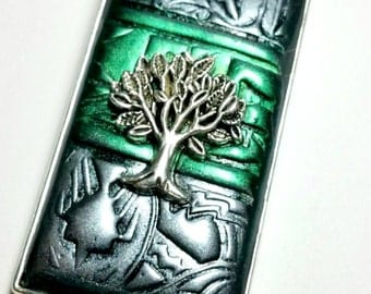 Green and Silver Tree of Life Necklace Handmade by Me FREE SHIPPING!