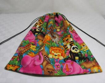 Bright, Colorful, Animal Print Draw String Bag