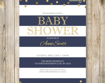 NAVY NAUTICAL Baby Shower Invitation, Navy Blue White Gold, Nautical Stripes Dots Digital Invite, Sailor Baby Boy Girl Shower Printables