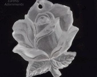 Vintage molded crystal matte glass rose pendant, Western Germany 20x16mm pkg of 1. b11-cr-0890(e)