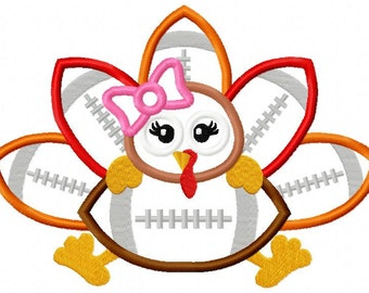 Girl Turkey Football Applique Design 2 Styles dst, exp, hus, jef, pes, sew, vip, vp3, Formats Digital INSTANT DOWNLOAD