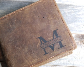 Personalized Cowhide Wallet, personalized Wallet, Personalized cowhide leather Wallet, crazy horse