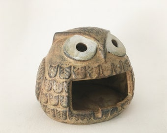 Vintage 1960's cute stoneware owl candle holder