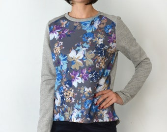 Flower and grey top/ long back blouse.
