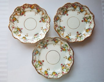 Vintage Tea Plate or Cake Plate. Royal Stafford China Edwardian Side Plates. Trio Spares With Hand Painted Roses. Perfect For A Tea Party!