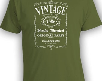 Vintage Whiskey Label Birthday Shirt Born 1986 - Celebrating 30th Birthday, Gifts for Him, Gifts for Grandpa, Gifts for Dad Bourbon CT-1075