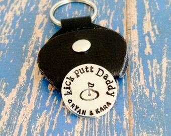 Kick Putt Daddy Aluminum Golf Ball Marker - Leather Case Key ring Keychain - Dad - Father - Grandpa - Papa - Father's Day - Christmas - Gift