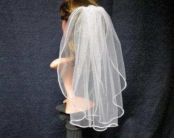 SALE  19.00.....Satin Edge Wedding Veil - White Bridal Veil - One Tier Veil - Single Tier Veil - Cording Veil ....( 1027 )  Ready To Ship
