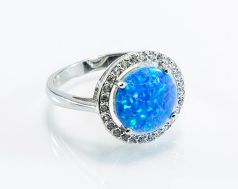 Large Round Lab Created Opal Micro Pave Ring