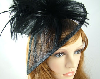 Black Sinamay & Feathers Twist Fascinator - Hat Occasion Wedding Races