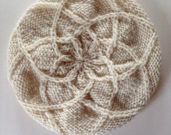 Bone Diamond Knitted Beabie - Cream Women Handmade Hat- Knitted Beret