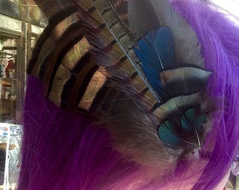 Peacock and Turkey Feather Hair Clip