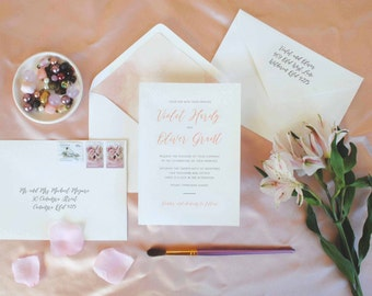 Modern Calligraphy Blush Pink Watercolour Wedding Invitations with envelopes -- Violet