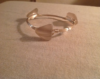 Sea glass pastel pink wire wrapped bangle
