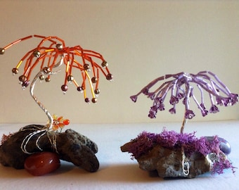 Fairy Garden Trees Wire wrapped Beaded Handmade Miniature Jeweled Tress Unique Cake Toppers Bonsai Garden Trees Terrarium Decorations