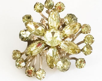 Vintage Early 1950's Beau Jewels Pale Green Olivine Rhinestone Brooch. Marquise + Round. Gold Tone.